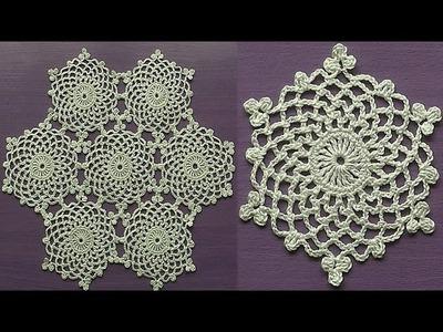 CROCHET Doily Motif Snowflake How to join motifs Part 2