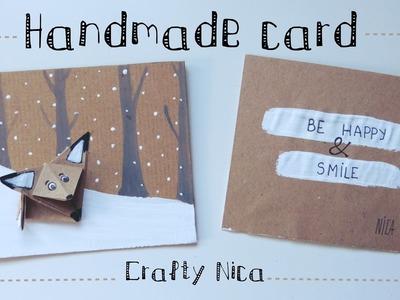 HANDMADE LOVE CARD  with an ORIGAMI FOX
