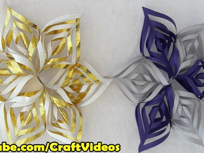 How to make 3d Snowflakes out of paper easy | 3d paper Snowflakes tutorial