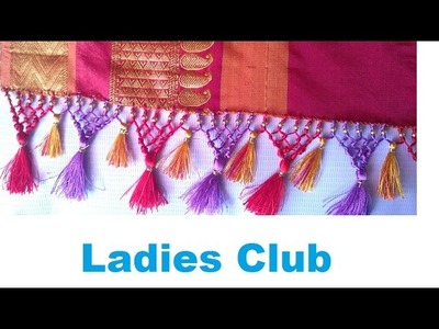 How to make Double Color Saree Kuchu. Tassels using Silk Thread and Beads | Tutorial !!