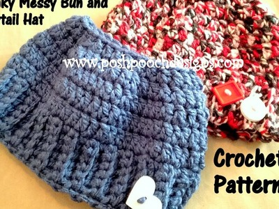 My Chunky Messy Bun and Ponytail Hat Crochet Pattern