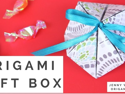 Origami Gift Box (ONE 1 Sheet of Paper!) - How to Make a Geometric Paper Gift Box Tutorial