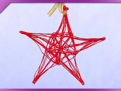 DIY Yarn star for Christmas tree (ENG Subtitles) - Speed up #291