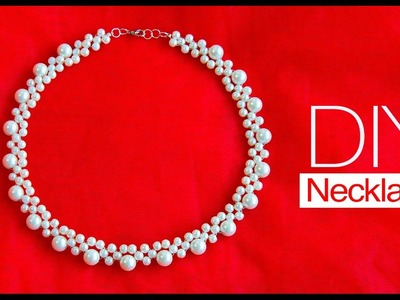 How to make pearl bridal necklace | DIY easy pearl necklace | pearl jewelry making