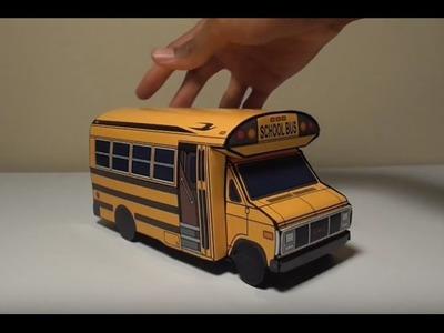 JCARWIL PAPERCRAFT 1991 GMC 3500 School Bus (Building Paper Model Car)