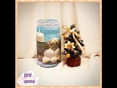 Christmas glass jar DIY decoupage  ideas decorations craft tutorial