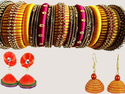 Fancy Silk Thread Earrings & Bangles Pictures Show | Learning Tutorials | DIY Handmade Bangles |