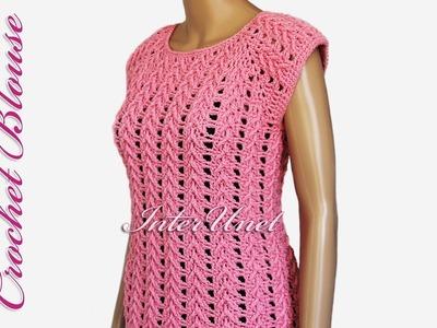 Blouse crochet pattern – lace pink top crochet tutorial