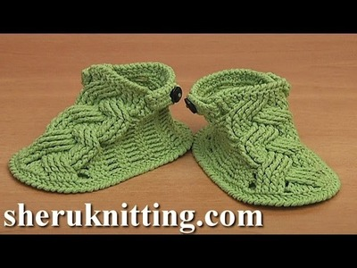 Crochet Cable Baby Booties Tutorial 82 Part 1 of 2