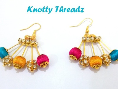 | DIY | How to make Designer Silk Thread Earrings using Beads at Home | Tutorial !! Easy Way !!