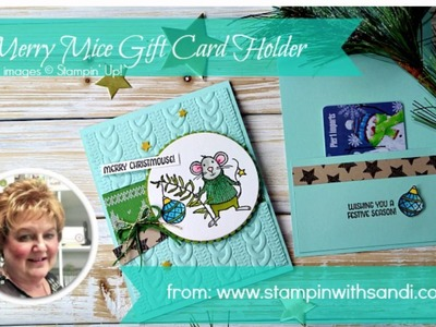 How to create a gift card holder card with the Merry Mice from Stampin' Up!