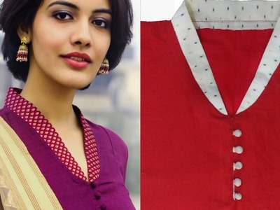 How To Cut Stitch And Full Collar Neckline With Buttons