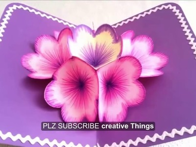 How to make a 3D Flower POP UP Greeting Card for new year  ||  2017 home made greetings card idea