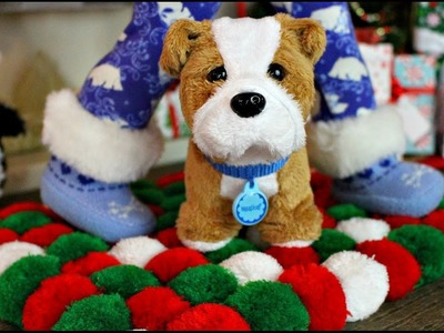 How to make an American Girl Doll Christmas Pom Pom Rug! DIY for American Girl Doll House!