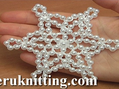 How to Make Crochet Beaded Showflake Tutorial 35