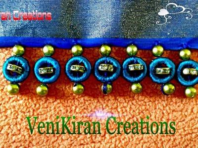 How to make Saree Kuchu.Tassels Design using Silk Thread with Beads - Design 10
