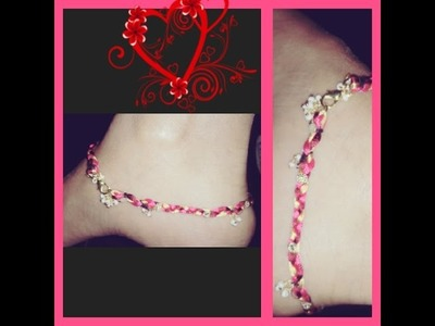 How to make silk thread anklets easy way in home