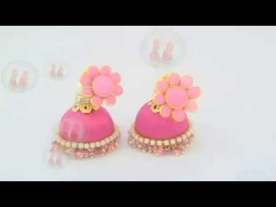 How to make Silk Thread Pink Loreal Jhumkas at Home easy. .