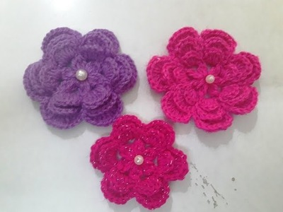Make Crochet Big Size Flower with 3 Layer Petals