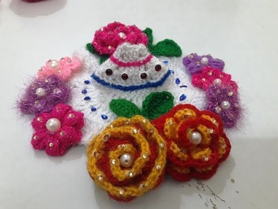 Make crochet flower dress - multicolored garden look