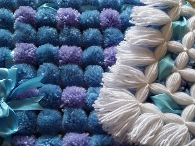 POM POM BLANKET LOOM - How to do two diffrent color poms - Pattern 2