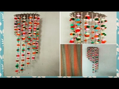 DIY:: Jhoomar. Wall hanging made out of  plastic straws!!