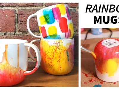 DIY RAINBOW.OMBRE MUGS | Cheap and Easy!