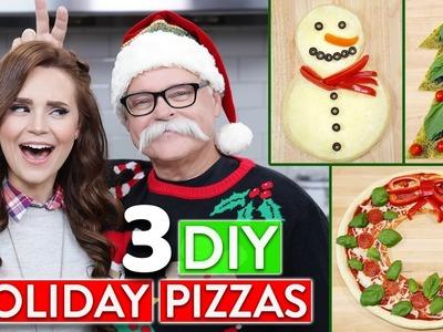 3 DIY HOLIDAY PIZZAS w. my Dad!