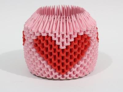 DIY: 3D Origami Brush.Pen Holder (Red Heart)
