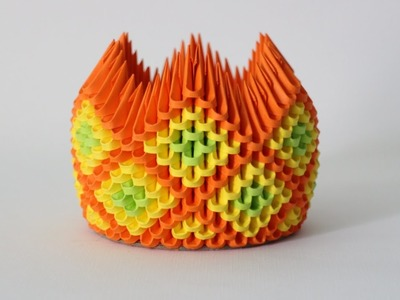 DIY: 3D Origami Brush.Pen Holder Crown Diamond