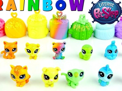Littlest Pet Shop RAINBOW TEENSIE Pets with Habitats and Rings, NEW Colorful LPS Friends