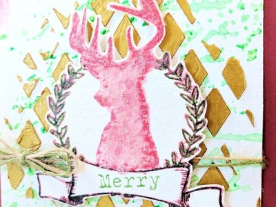 Mixed Media Stag Christmas Card