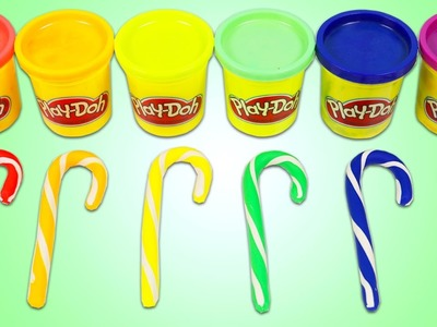 PLAY DOH Rainbow Candy Canes Fun & Easy DIY Christmas Holiday Play Dough Art!
