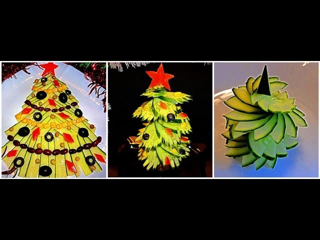 3 DELICIOUS LIFE HACKS HOW TO MAKE CUCUMBER GARNISH CHRISTMAS TREE & VEGETABLE CUCUMBER  CARVING