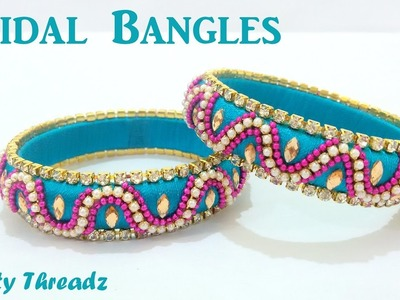 | DIY |How to make Designer Silk Thread Bridal Bangles at Home | Tutorial !!