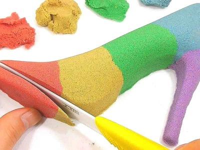 DIY How To Make Kinetic Sand Colors High Heel Cake Learn Colors Slime Glitter Icecream - Kids Songs