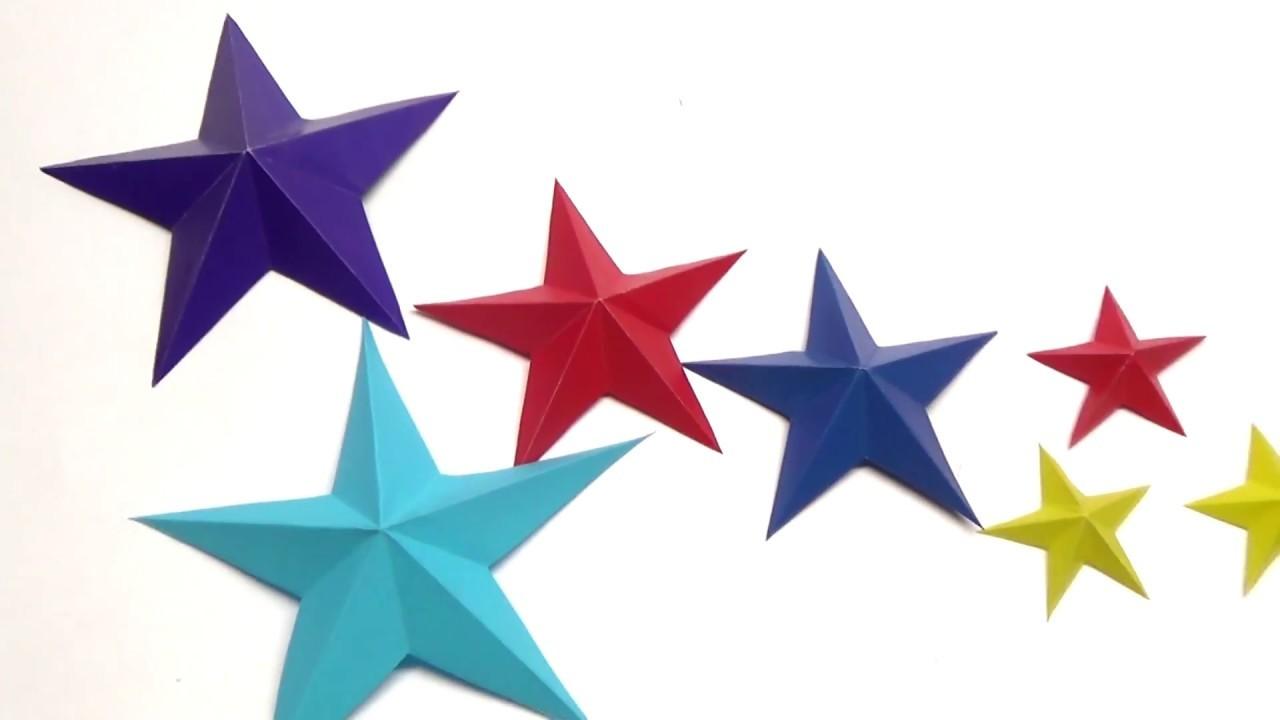 DIY Paper Craft Ideas - How to make easy 3D paper star. Paper decoration. Julia DIY