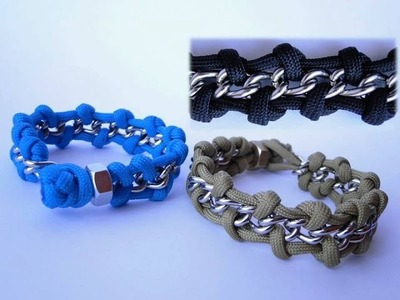 """How to Make a """"Chain and Hex Nut"""" Paracord Survival Bracelet- Diamond Knot and Loop-Two Size Version"""