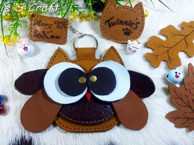 How to make an owl leather coin purse key chain