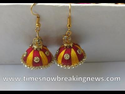 How to make silk thread jhumkas   silk thread jhumkas making, silk thread earrings new designs