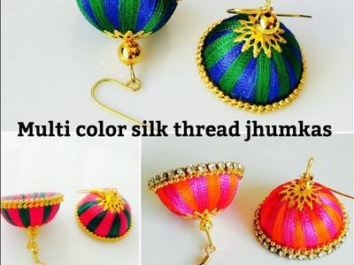 Simple and easy Silk Thread Jhumkas (Tutorial)||Double colored silk thread jhumka
