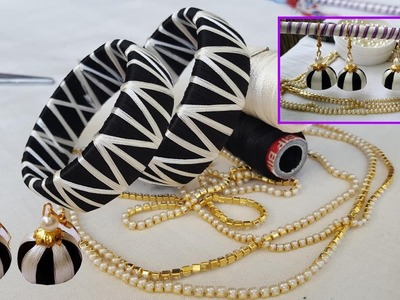 Zigzag Design Silk Thread Bangles and jhumkas making  - DIY #Fancy Bangles