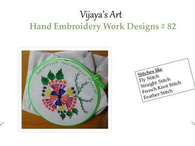 Beautiful Hand Embroidery Work Designs # 82 - Satin & Fly Stitches