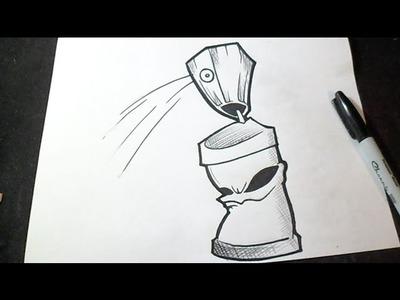 Cómo dibujar Lata de spray Graffiti | How to draw Spraycan