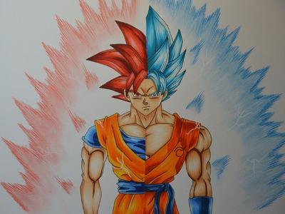 Drawing Goku SSJ God - SSGSS