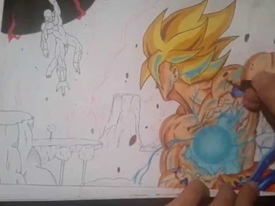 Drawing Goku vs Frieza on Namek - Kamehameha [DragonBall Z] HD