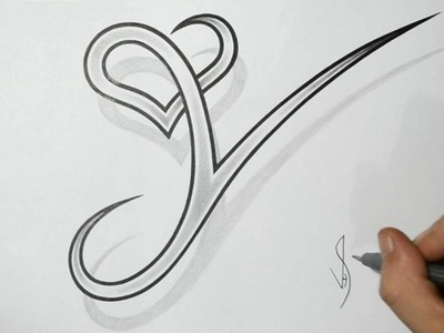 Drawing Letter Y with Heart Combined - Cool Tattoo Design Idea