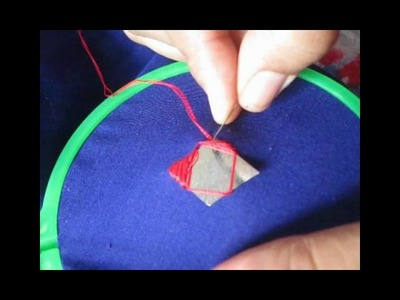 Embroidery tutorial for diamond shape mirror work