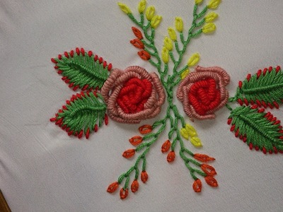 Hand embroidery bullion knot stitch, bullion knot rose.