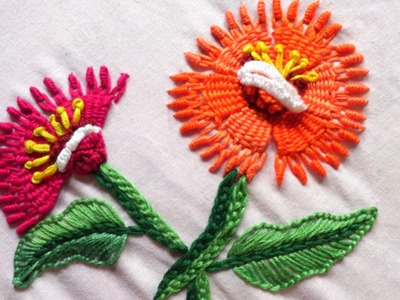 Hand embroidery designs.    Kadai kamal stitch tutorial, summer flower.